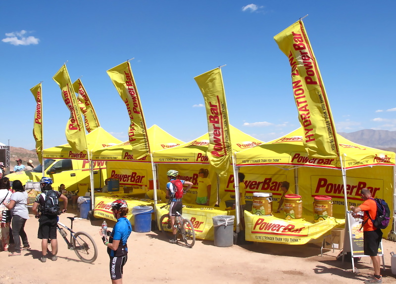 If you rode a demo bike here at Bootleg Canyon then you passed by Power Bar where they were on hand to keep you hydrated and fed to keep you safe out there in the desert heat. If you get a chance try their Smoothie flavoured bars.