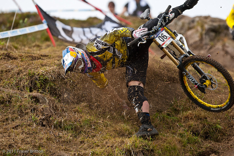 MS Evil s Brook Macdonald had a rough day before qualifying on Saturday. He took a tumble in one of the steepest section sof the track and cartwheeled his way down it.